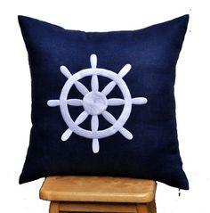 Decorative Pillow Cover 18 x 18, White Ship Wheel Navy Blue Linen Pillow, Nautical Pillow Cover, Navy Blue Throw Pillow, Pillow Accent Navy