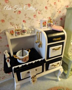 The miniature stove for the dollhouse.