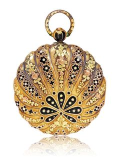 GOLD AND ENAMEL POCKET WATCH, ca. 1780.Gold.Case opulently decorated with red gol