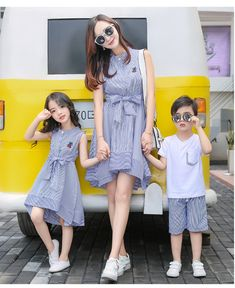 mother daughter dresses 2017 Family Matching Outfits striped dress family clothing mother and daughter clothes son outfits Mother Daughter Dresses Matching, Mother Daughter Fashion, Matching Family Outfits, Mother Son, Matching Clothes, Girls Party Dress, Baby Dress, Party Dresses, Mommy And Me Outfits
