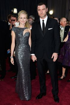 Naomi Watts in Armani Prive and her handsome husband Liev