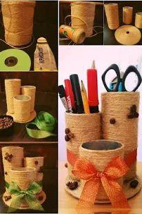 Idea portapenne riciclando tubi di cartone o barattoli di latta vuoti