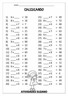 Color By Number Multiplication 3rd Grade Math Worksheets, 4th Grade Math, Grade 1, Math Exercises, Math Multiplication, Math Practices, Homeschool Math, Math For Kids, Math Lessons
