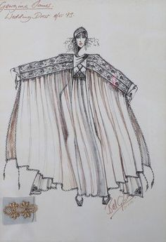 Bill Gibb fashion sketch for the Bee dress, pen and ink with attached gold lace swatch, dedicated to Georgina James and inscribed 'Wedding Dress A/W Fashion Art, Vintage Fashion, Fashion Textiles, 70s Outfits, Seventies Fashion, Fashion Sketchbook, Vogue, Fashion Design Sketches, Gold Lace