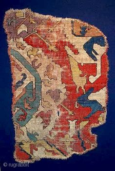 Early Caucasian Dragon Rug Fragment, mounted