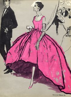 Balenciaga evening gown, illustration by Bernard Blossac.