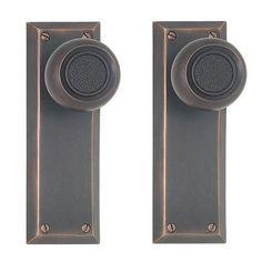 New York Door Knob Plate Set Privacy Passage and Dummy Door