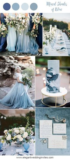 Romantic mixed shades of blue beach wedding inspiration for 2018 trends wedding flowers 10 Prettiest Blue Wedding Color Combos for 2018 & 2019 Trendy Wedding, Perfect Wedding, Dream Wedding, Wedding Day, Wedding Blue, Burgundy Wedding, Rustic Wedding, Wedding Venues, Wedding Tulips