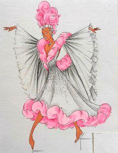 Cabaret, Folies Bergeres, Costume Design Sketch, World Tv, Photoshoot Inspiration, Fashion Illustrations, Dance Costumes, Art Art, Flower Power