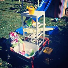 """Outdoor water play from Wholesome Beginnings ("""",) Sand And Water, Water Play, Playground Ideas, Project Ideas, Projects, Preschool Kindergarten, Sensory Play, Cool Baby Stuff, Outdoor Fun"""
