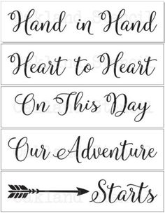 Wedding Gifts Diy Wedding STENCILS*Hand in Hand*with arrow Set of 5 stencils for Signs Pallets Wedding On A Budget, Wedding Planning Tips, Wedding Tips, Wedding Favors, Wedding Decorations, Diy Wedding Crafts, Wedding Stuff, Wedding Venues, Wedding Sparklers