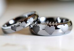Free Shipping YGK JEWELRY Hot Sales 4MM/6MM Dome Legend of Zelda 8-Bit Hearts Mens Tungsten Carbide Wedding Ring