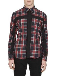 Slim-Fit Button-Down Collar Panelled Checked Cotton-Twill Shirt, Red