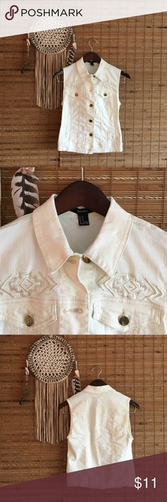 Western Inspired White Denim Vest! Who doesn't love white denim? 2% spandex gives the vest a bit of stretch. Western inspired embroidered details above front pockets. Jackets & Coats Vests