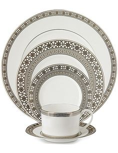 Waterford Michael Aram Jaipur Dinnerware, 5 pc Place Setting - Inspired by the rich metalworking traditions of India, American metalware designer Michael Aram has created the Jaipur Collection; characterized by open, cut-through patterns and immediately recognizable Indian influences. Material Fine Bone China Banding Platinum Washing Dishwasher Safe   135