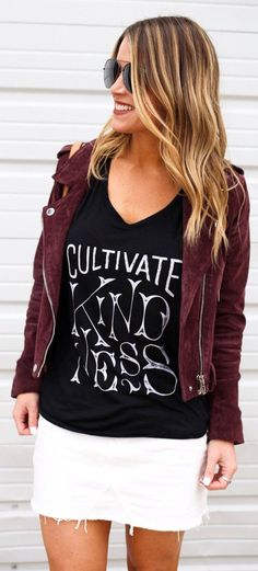 39607e69700e Burgundy Suede Jacket   Black Printed Top   White Denim Skir BLANKNYC  Morning Suede Moto Biker Jacket Burgundy