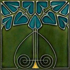 Gloss Ceramic Tile - Vintage Art Nouveau Reproduction Tile (Green with Blue Flowers) - for sale on Etsy by Sublime Tiles Motifs Art Nouveau, Azulejos Art Nouveau, Design Art Nouveau, Motif Art Deco, Art Nouveau Pattern, Art Vintage, Vintage Tile, Antique Tiles, Vintage Drawing