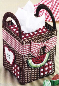 """Country Basket Tissue Cover"" Watermelon Apples Plastic Canvas Pattern 