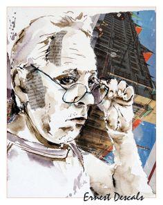 Ernest Collage, Portrait, Antonio Mora, Artwork, Watercolor, Figurine, Collages, Work Of Art, Headshot Photography