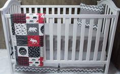 Baby Boy  Nursery Bedding  Crib Set  Woodland  Moose  by Babylooms