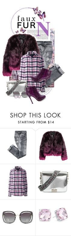 """Wow Factor: Faux Fur"" by shortyluv718 ❤ liked on Polyvore featuring H&M, Lands' End, Off-White, Miu Miu, Evie & Emma, Paolo Shoes and fauxfur"
