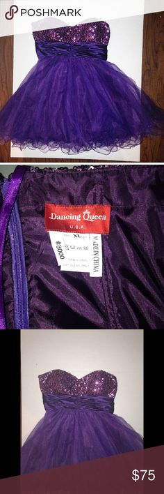 purple sequin and tule short prom dress This beautiful purple sequin and tule prom dress was only worn once! Dancing Queen Junior size extra large short strapless dress perfect for any special occasion! Although listed as an extra large this purple dress runs very small! It measures while laying flat at a 32 inch ribcage Dresses Prom