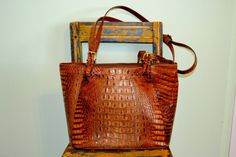 BRAHMIN REPTILE embossed leather BAG by faintofheartvintage, $75.00