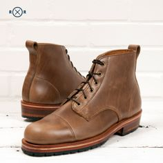 The Railroad Boot. Designed for the 2013 Railroad Revival Tour. Made of Horween Chromexcel in Natural. Features a half lug sole. $395 at www.helmboots.com
