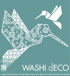 WASHI dECO | humming bird | kolibri | Origami Fenster deko | origami glass and window decoration | S.W.W.S.W.