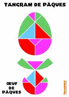 jeu de tangram d'oeuf de Pâques à imprimer fiche maternelles élémentaire gratuit ps moyens grands