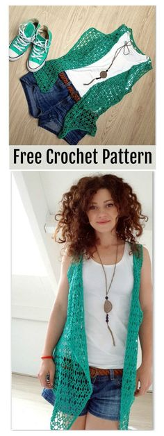 Lace Summer Vest Free Crochet Pattern #freecrochetpatterns #crochettop