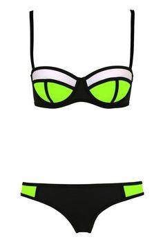Color Block Plaid Bikini Set