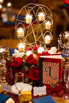 Flower arrangement with Ferris wheel and candles