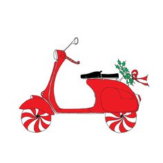 Vespa Scooter Christmas Holiday Card от rachelink на Etsy