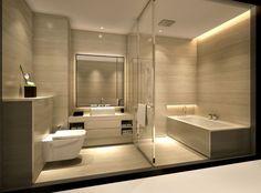 Armani Hotel bathroom (Wallpaper is nice idea for home bathroom) Hotel Bathroom Design, Bathroom Spa, Bathroom Ideas, Bathroom Lighting, Bath Design, White Bathroom, Bathroom Cabinets, Remodel Bathroom, Bathroom Colors