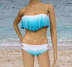 blue white gradient ( 3 colors ) 2PC Tassel Padded Bandeau Fringe Bikini Beach Women Swimsuit Swimwear set on Etsy, $21.00