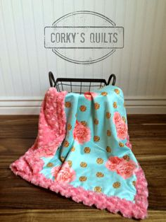 Coral Rose and Mint Minky Baby Blanket by CorkysQuilts on Etsy
