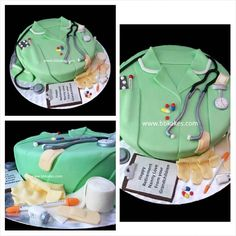 Nurse theme retirement cake by bbkakes #cake #nurse #nurselife #uniform #green #medical #nursecake #retirement #instacake #fun