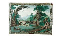 Block-printed landscape wallpaper.  Early 19th century Ohio