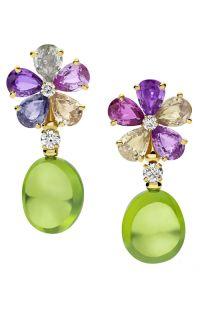 Bvlgari 'Sapphire Flower' earrings with multi-coloured sapphires, diamonds and peridots Sapphire Jewelry, Sapphire Earrings, Gemstone Jewelry, Bulgari Jewelry, Jewellery, High Jewelry, Luxury Jewelry, Women Jewelry, Jewelry Box
