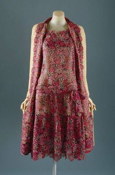 Chanel 1927 Pink Multi Ensemble. Could use skirt from an oversize dress to embellish a sweater/jacket, create a suit sort of thing.