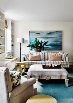 Living room from Hamptons-style holiday home on Victoria's Mornington Peninsula. Photography: Lisa Cohen | Styling: Adelaide Bragg | Story: Belle