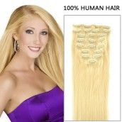 22 Inch 7pcs Natural Straight Clip In Human Hair Extensions 80g (#613 Lightest Blonde)