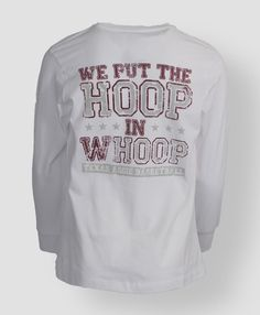 """We put the hoop in whoop"" Texas Aggie Basketball T-shirt #AggieGifts #AggieStyle"