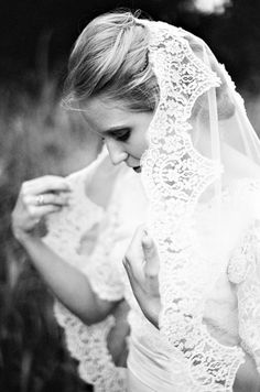 Jennie and Jordan's Outdoor DIY Wedding, With a Vintage Dress and Veil by Bound By Photography I love the veil and the photograph! Wedding Veils, Boho Wedding, Dream Wedding, Wedding Dresses, Fantasy Wedding, Wedding Hair, Vintage Veils, Vintage Dresses, Vintage Lace