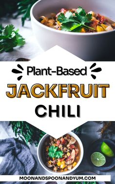 Use your instant pot or pressure cooker to make this incredible jackfruit chili recipe from MOON and spoon and yum! This comforting vegan chili recipe is easy to make and contains jackfruit, chickpeas, and sweet potato for a satisfying meal that is the perfect comfort food on a winter night. This vegan, gluten-free chili can also be made on the stovetop! #recipe #glutenfree #veganchili #jackfruit #chili #chickpeas #vegan Vegetarian Comfort Food, Vegetarian Soups, Vegan Soup, Healthy Soup Recipes, Chili Recipes, Whole Food Recipes, Vegan Recipes, Dairy Free Soup, Vegane Rezepte