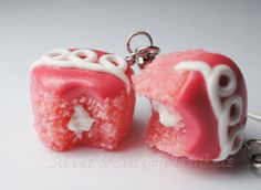 Strawberry Cupcake Earrings Miniature Food by Sweetnsavorytrinkets