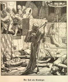 Alfred Rethel's Der Tod als Erwürger, Death the Strangler, depicting the first outbreak of cholera at a masked ball in Paris 1831.