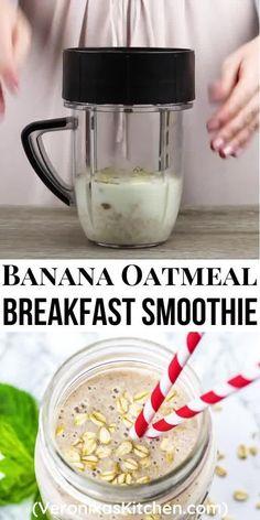 Healthy Oatmeal Breakfast, Clean Breakfast, Healthy Breakfast Smoothies, Oatmeal Breakfast Recipes, Healthy Drinks, Healthy Breakfasts, Healthy Nutrition, Healthy Food, Smoothie Recipes Oatmeal