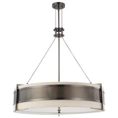 Bring eye-catching style to your home with this hazel bronze-finished pendant, showcasing a drum silhouette and industrial-chic detailing.
